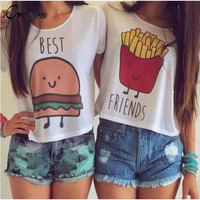 Best Friends Print T Shirts Fashion Short Sleeve Printed Shirt Female