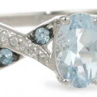 Sterling Silver, Aquamarine, Swiss Blue Topaz, and Diamond Twist Ring (1/10 cttw, I-J Color, I3 Clarity)