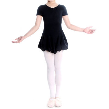 Kid Girls Short Sleeve Leotard Gymnastics Cotton Ballet Dance Dress Dancewear SM6