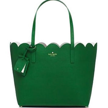 Kate Spade New York Lily Avenue Carrigan Shoulder Tote in Sprout Green and Bright White