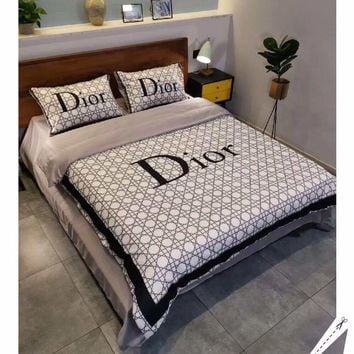DIOR Stylish Fashion Modal 4 Pieces Sheet Set Blanket For Home Decor Bedroom Living Rooms Sofa