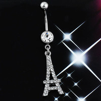 Silver Eiffel Tower Clear Crystal Bar Navel Belly Ring Dangle Body Piercing Jewelry