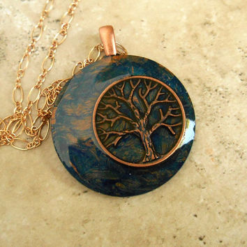 Tree of Life Necklace: Blue - Wiccan Pendant - Celtic Jewelry - Tree Jewelry - Earthy Jewelry - Spiritual Jewelry - Unique Jewelry