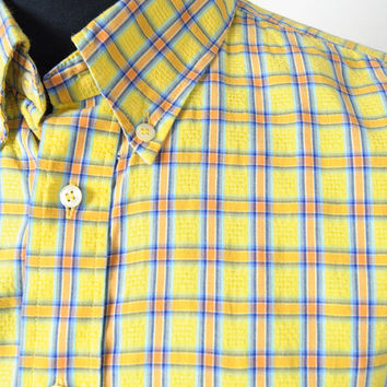 Vintage Burberry Check Shirt Mens Embroidered Emblem Chest Pocket Size XL 100% Cotton Made in Sweden