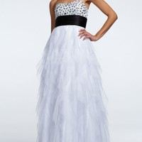 Strapless Cascade Ruffle Tulle Ball Gown - David's Bridal