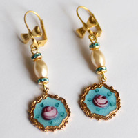 Vintage Sarah Coventry Enameled Gold Charms and Pearl Earrings, Turquoise and Pink Rose Earrings, Valentine's Day Gift, Something Blue SRAJD