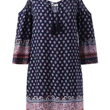 Spaghetti Strap 3/4 Sleeve Straight Print Dress