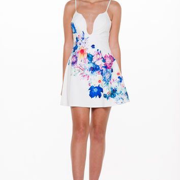 (alm) Floral print flare plung dress