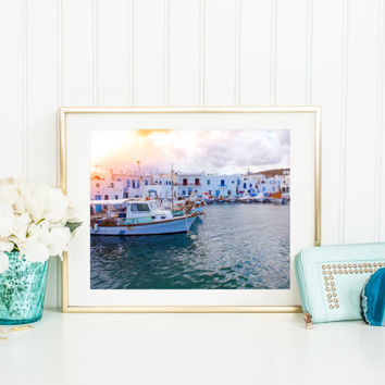 Greece digital download, travel photography printable, Greek architecture, fishing boats in harbor, home decor, wall art, light leaks, sea