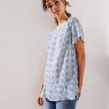 Medallion Ruffled Crossover Back Top | LOFT
