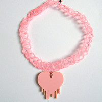 Bleeding heart pastel pink 90s tattoo choker