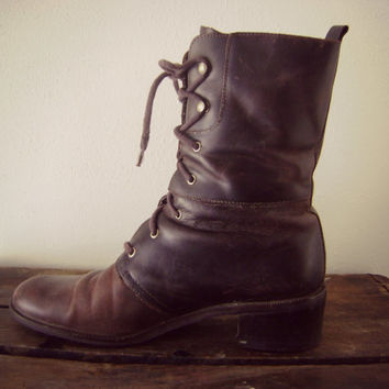 Leather Combat Boots Vintage 1990s Tall Brown Leather Boots Ladies Size 9 Boots Grunge Boots Natualizer Mid Calf Boots Lace Up Boho Hippie