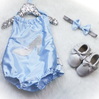 Cinderella Satin Sunsuit and Matching headband SET