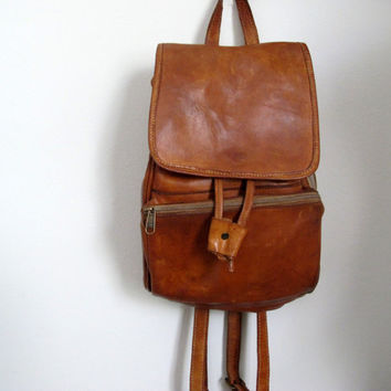 Vintage Brown Leather Backpack School Rucksack Bag Camel Light Dark Small Big