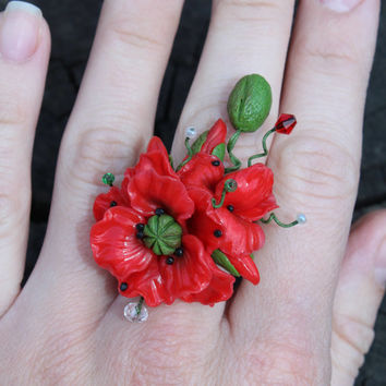 Poppy rings, floral jewelry ring, red poppy bouquet ring