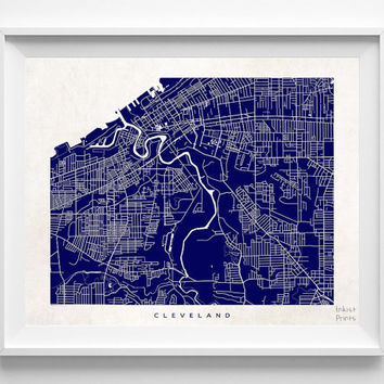 Cleveland, Ohio, Street Map, World, State, Town, Print, Nursery, Art, Cute, Pretty, Living Room, Poster, Wall Decor, Illustration [NO 488]