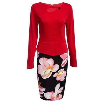 Flower Print Faux Two Piece Bodycon Dress for Women