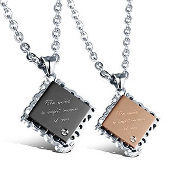 Geo Matching Set Stainless Steel Couple Pendant Necklaces