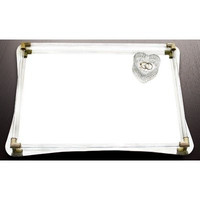 Accents by Jay Mirror Vanity Tray with Curved Glass and Gold Corner Accents, 12 by 16-Inch