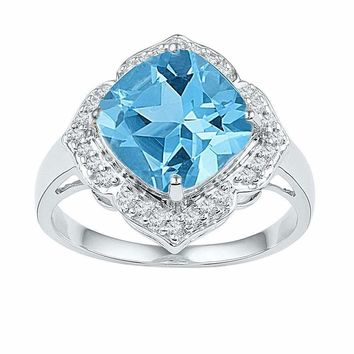 10kt White Gold Womens Princess Lab-Created Blue Topaz Solitaire Ring 5-1-6 Cttw