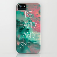 Be Happy and Smile iPhone & iPod Case by Louise Machado