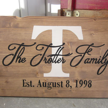 Custom Wood Family Name Sign - Personalized Plaque - Last Name Sign - Established Monogram  - Painting - Wedding, Anniversary, Gift