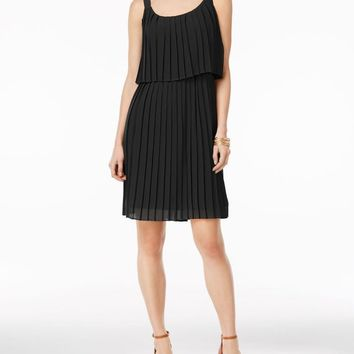 NY Collection Women Black Pleated Popover A-Line Dress Small S