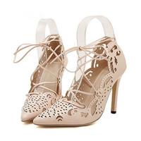 Women Pumps 2015 Sexy Red Bottom High Heels Women Shoes Lace Up Shoes Woman Cut Outs Wedding Shoes White Gladiator Sandals Women