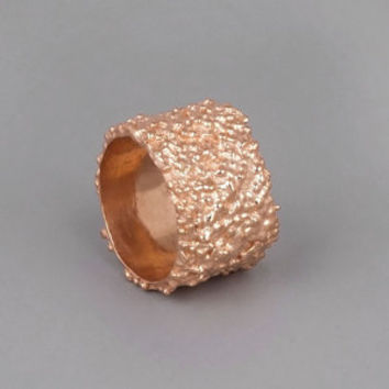 Rose Gold Band Ring - Lava Ring - Handmade 18k Rose Gold Plated Jewelry