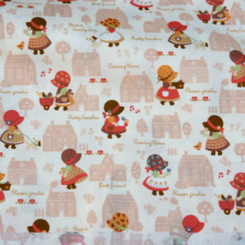 "Country Style Japanese fabric Little girl print 50 cm by 106 cm or 19.6"" by 42"" Half meter A20"