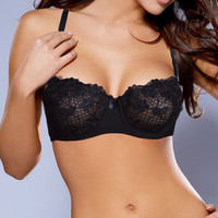 Women Sexy Underwire Unpadded Embroidery Lace Bra Mesh Lined Brassiere Bralette Push Up Bras Size 34 36 38 40 42 44 A B C D Cup