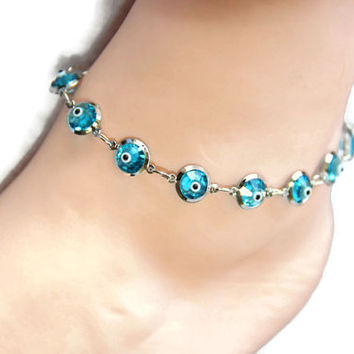 8mm crystal evil eye anklet, Turkish blue eye anklet, crystal anklet,Platinum color chain anklet, gift accessories, crystal jewelry