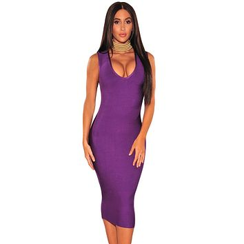 Purple Gold Button Cut Out Bandage Dress LAVELIQ