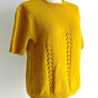 Hand Knit Pullover Sweater, Vintage Autumn Yellow Wool Sweater, Womens Short Sleeved Sweater, Mustard Yellow