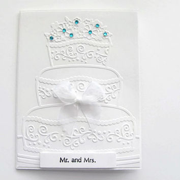 Embossed Wedding  Cake Card, Cake Card, Mr & Mrs Card, Weddings, White