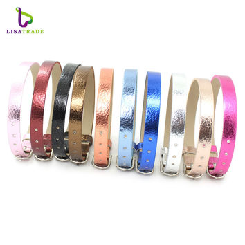 Hot Sale!!8mm litchi grain PU leather Wristband Bracelet Fashion Accessory Fit for Slide Letters Charms High quality! LSBR032*10