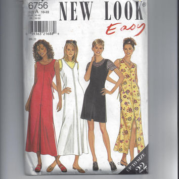 New Look 6756 Pattern for Misses Easy Dress or Jumper, Size 10-22  - FACTORY FOLDED and UNCUT, From 2000 by Simplicity