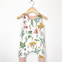 Baby girl romper in floral print // toddler romper // baby romper // button romper // baby clothes // organic baby clothes