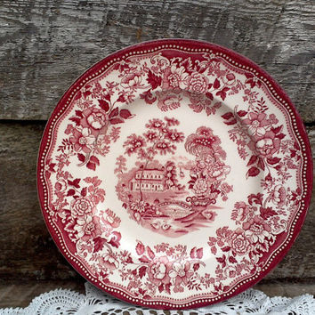 "Red CLARICE CLIFF Tonquin Side Plate, 6 3/8"", Royal Staffordshire, England Transferware - Red Transferware"