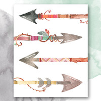 Boho Watercolor Arrows Print