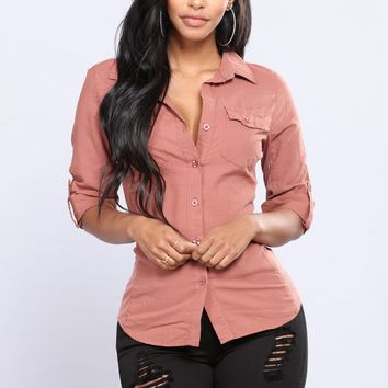 Taylor Button Down Top - Rust
