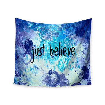 "Ebi Emporium ""Just Believe"" Blue Purple Wall Tapestry"