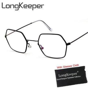 LongKeeper 2017 Polygon Fake Glasses Clear Optical Lens Men Women Retro Gold Frame Ultralight Full Frame Eyeglasses Oculos 3403E