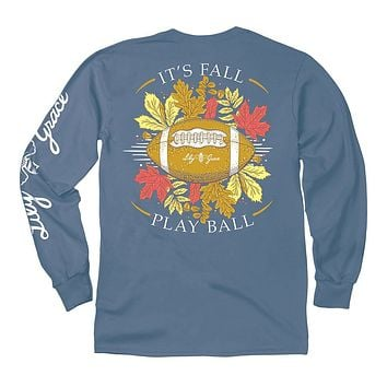 Fall Play Ball Long Sleeve Tee in Marine by Lily Grace