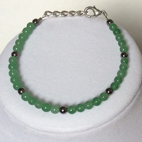 Green Aventurine & Gun Metal Beads Stackable Beaded Bracelet, Stacker Bracelet, Adjustable Bracelet, Friendship Bracelet, Pretty, Simple