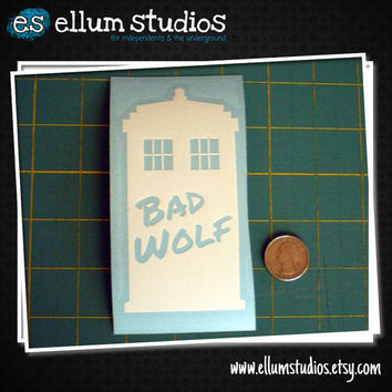 "Doctor Who Bad Wolf Edition Tardis Sticker. 5"" tall vinyl decal"