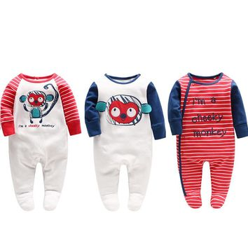 Baby Rompers Newborn Baby Boy Cotton Cartoon Rompers 0-3 Months Baby Foot Cover Jumpsuit for Spring Infant Clothing