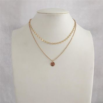 LOVELY GOLD COLOR TWO LAYER ROUND DISC CHAIN ROUND DISC PENDANT NECKLACE FOR WOMAN GIRL