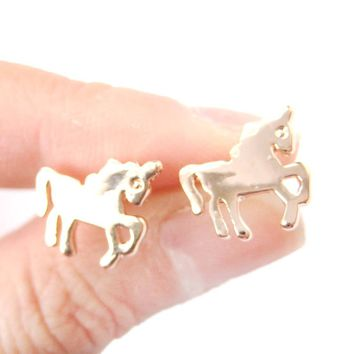 Unicorn Horse Shaped Silhouette Animal Themed Stud Earrings in Rose Gold