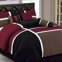 Chezmoi Collection 7-Piece Quilted Patchwork Comforter Set, California King, Burgundy/Brown/Black
